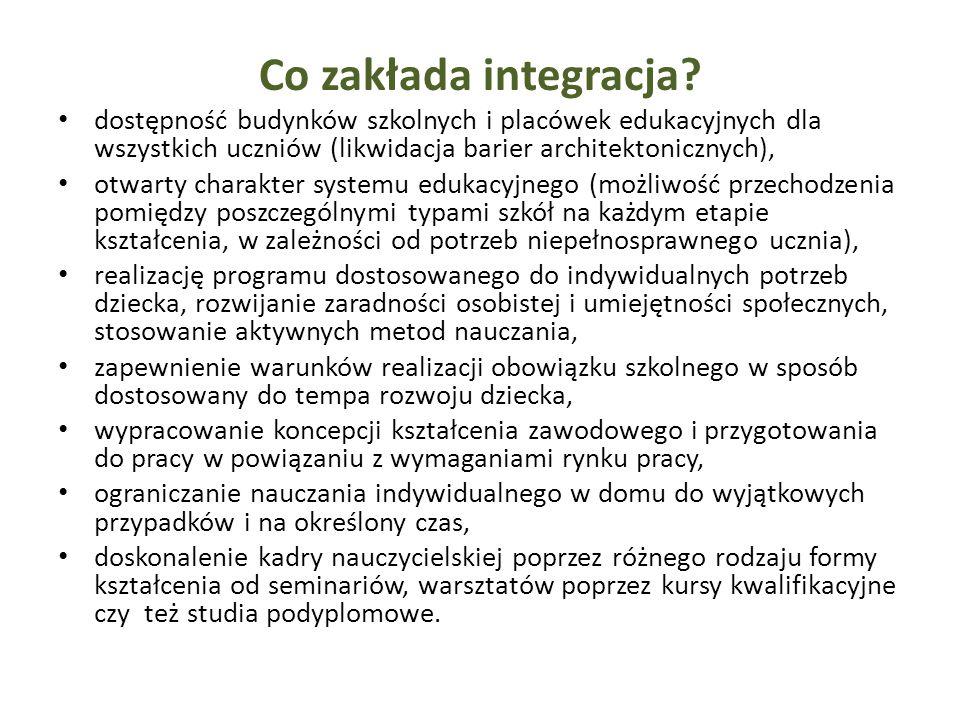 Co zakłada integracja? dostępność budynków szkolnych i placówek edukacyjnych dla wszystkich uczniów (likwidacja barier architektonicznych), otwarty ch