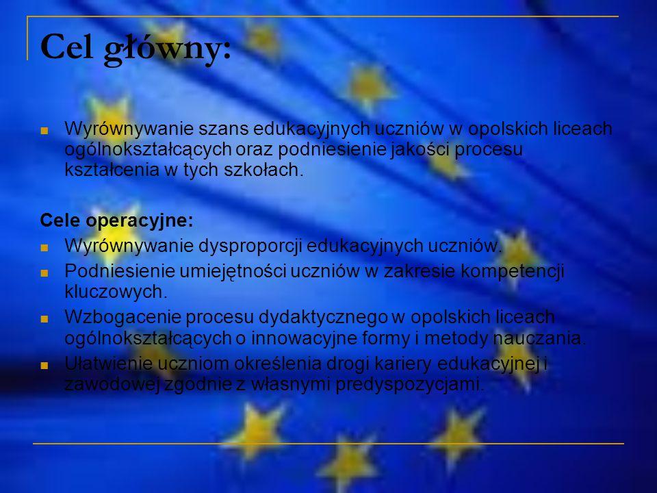 Cel główny: Wyrównywanie szans edukacyjnych uczniów w opolskich liceach ogólnokształcących oraz podniesienie jakości procesu kształcenia w tych szkołach.