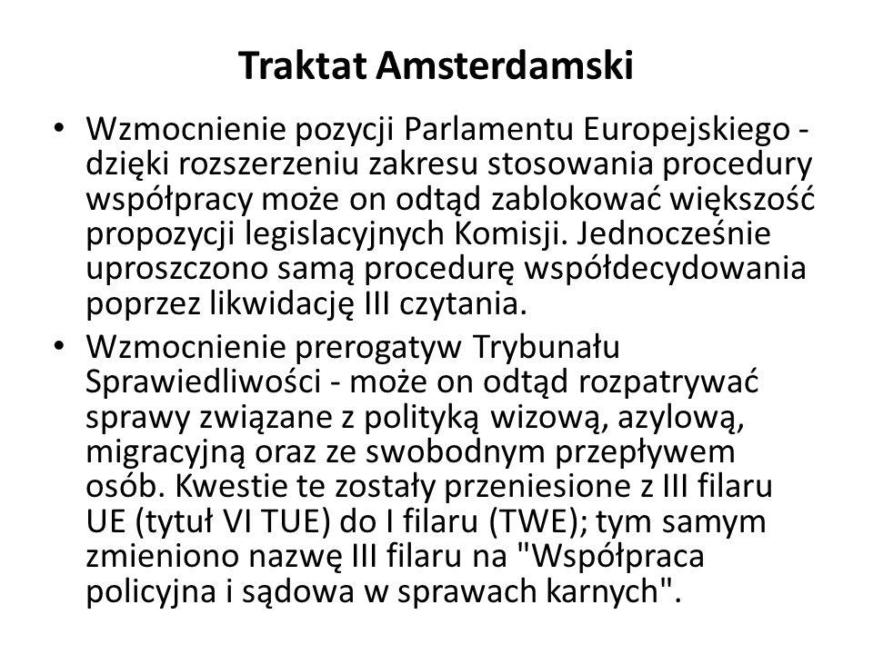 Traktat Amsterdamski Wzmocnienie pozycji Parlamentu Europejskiego - dzięki rozszerzeniu zakresu stosowania procedury współpracy może on odtąd zablokow