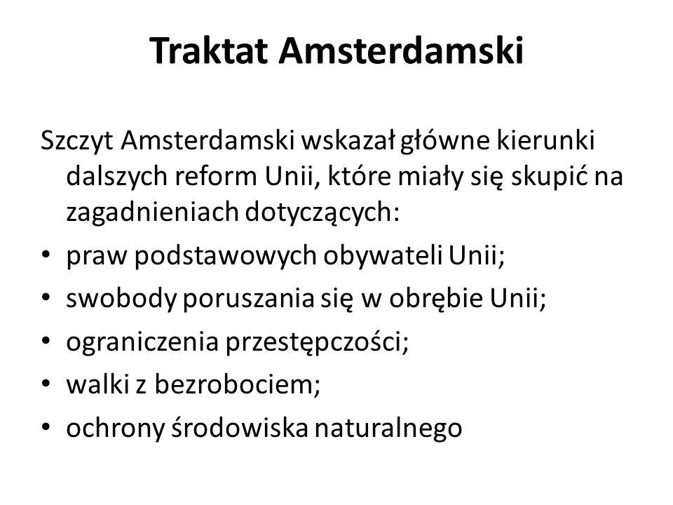 Traktat Amsterdamski Szczyt Amsterdamski wskazał główne kierunki dalszych reform Unii, które miały się skupić na zagadnieniach dotyczących: praw podst