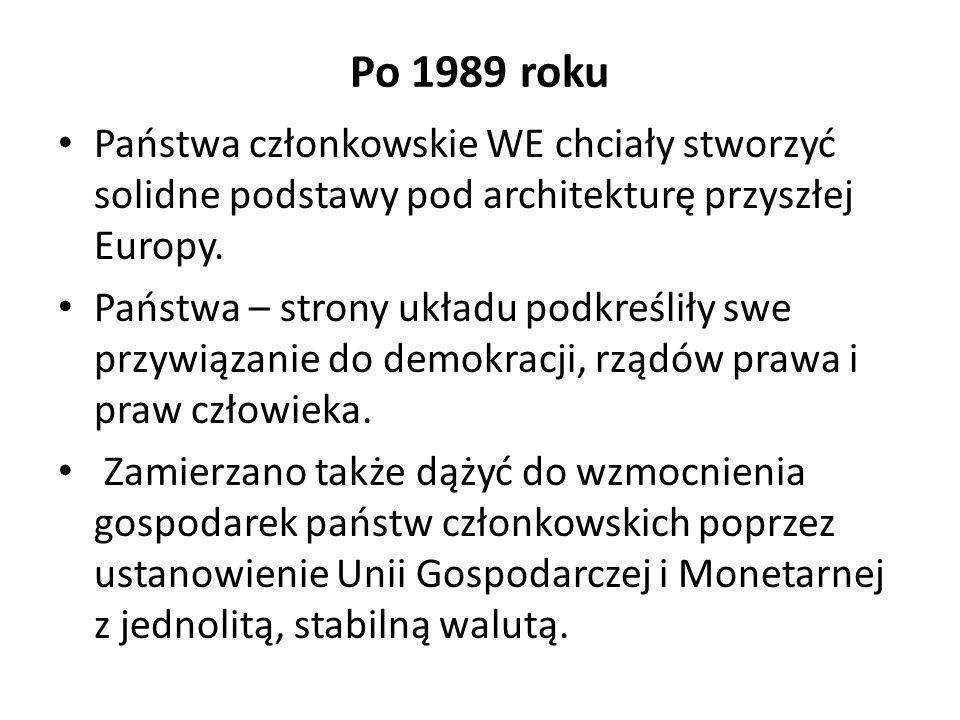 Po 1989 roku Państwa członkowskie WE chciały stworzyć solidne podstawy pod architekturę przyszłej Europy. Państwa – strony układu podkreśliły swe przy
