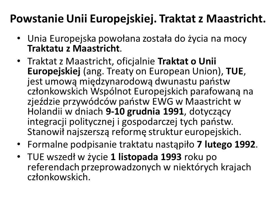 Powstanie Unii Europejskiej. Traktat z Maastricht. Unia Europejska powołana została do życia na mocy Traktatu z Maastricht. Traktat z Maastricht, ofic