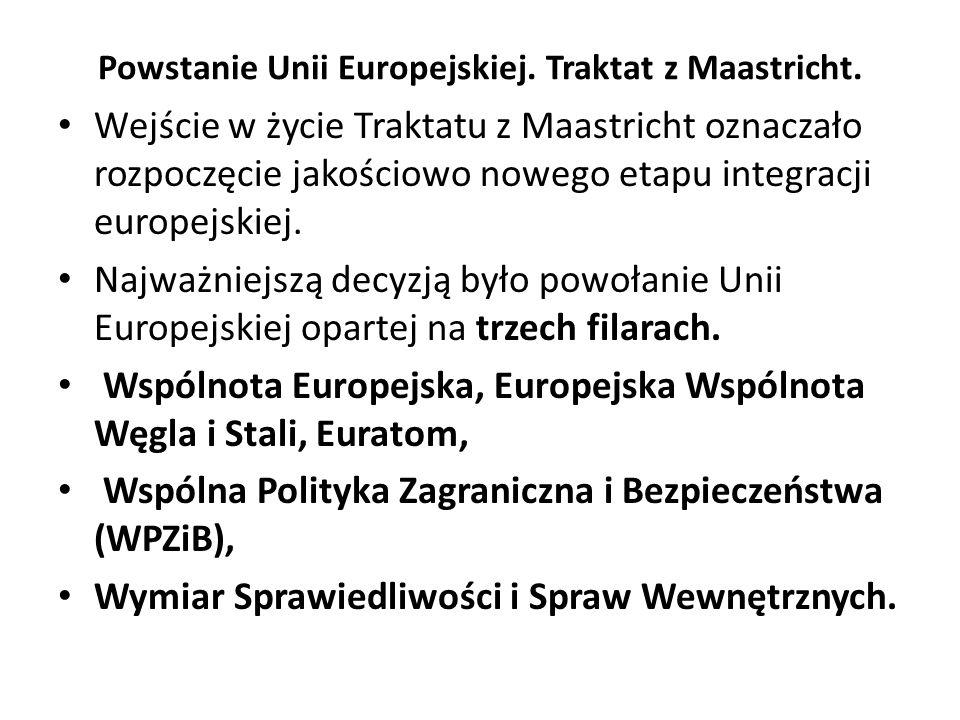Powstanie Unii Europejskiej. Traktat z Maastricht. Wejście w życie Traktatu z Maastricht oznaczało rozpoczęcie jakościowo nowego etapu integracji euro