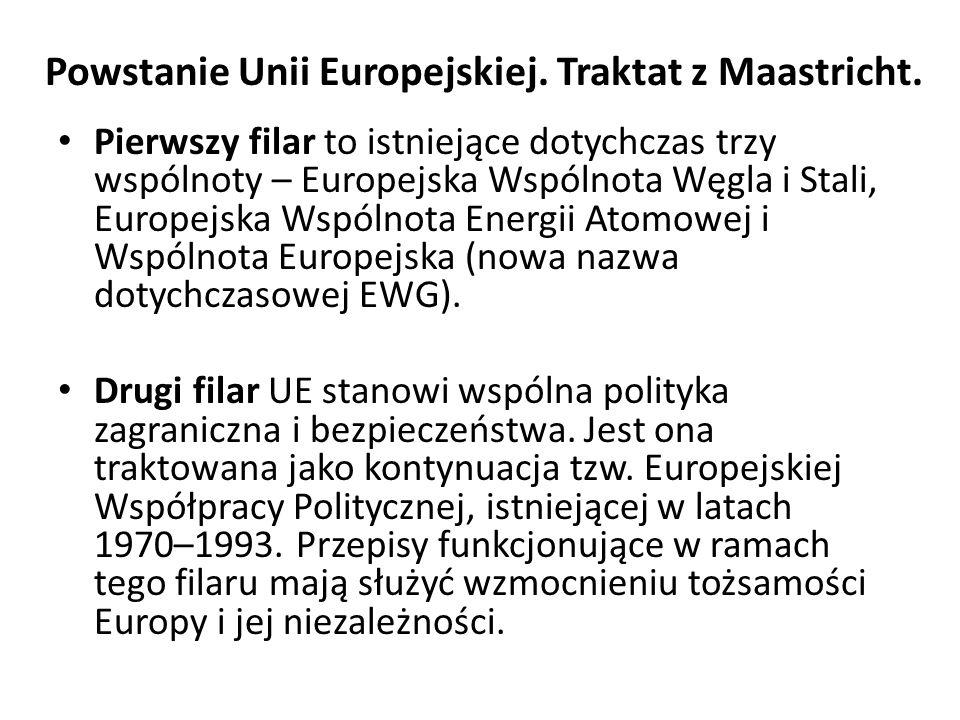 Powstanie Unii Europejskiej. Traktat z Maastricht. Pierwszy filar to istniejące dotychczas trzy wspólnoty – Europejska Wspólnota Węgla i Stali, Europe