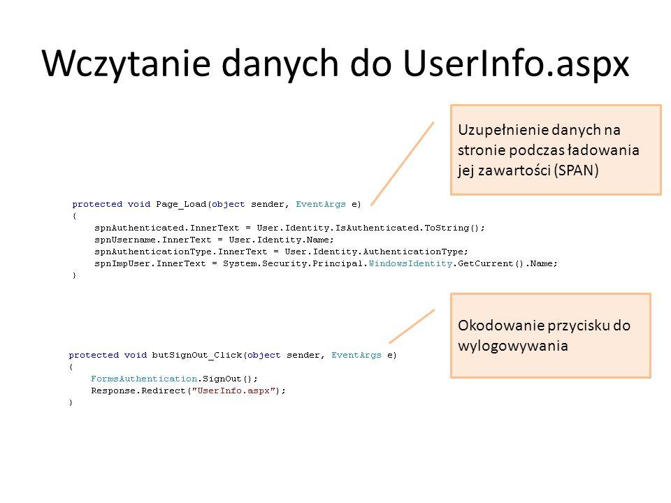 Wczytanie danych do UserInfo.aspx Uzupełnienie danych na stronie podczas ładowania jej zawartości (SPAN) Okodowanie przycisku do wylogowywania