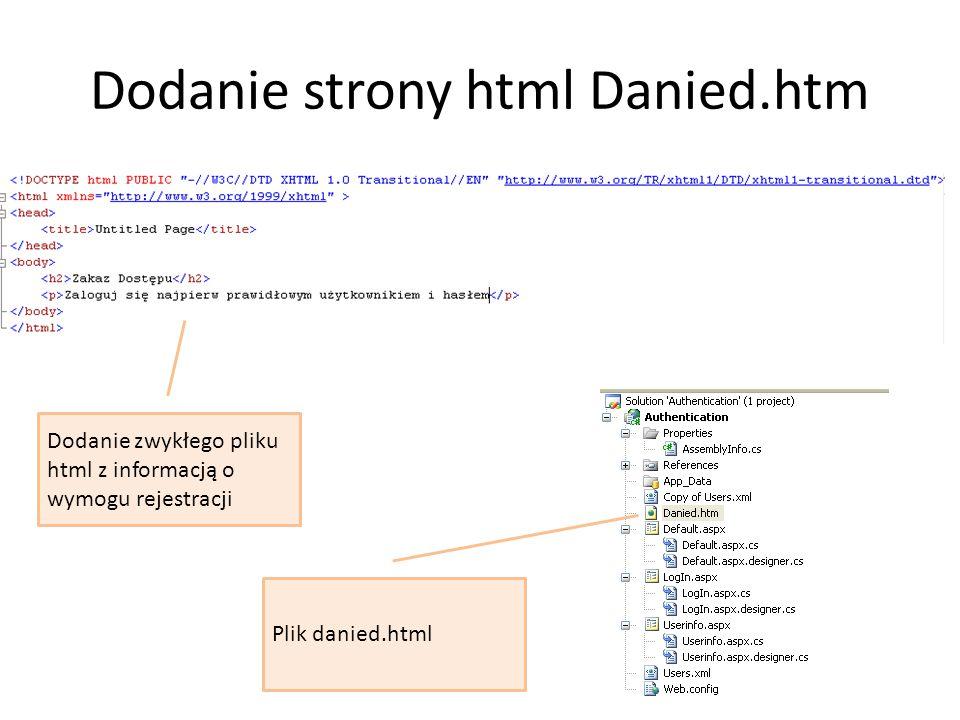 Dodanie strony html Danied.htm Dodanie zwykłego pliku html z informacją o wymogu rejestracji Plik danied.html