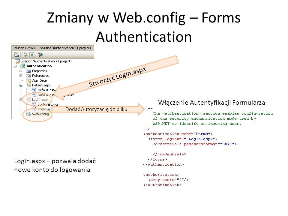 Zmiany w Web.config – Forms Authentication Dodać Autoryzację do pliku Stworzyć LogIn.aspx LogIn.aspx – pozwala dodać nowe konto do logowania Włączenie Autentyfikacji Formularza