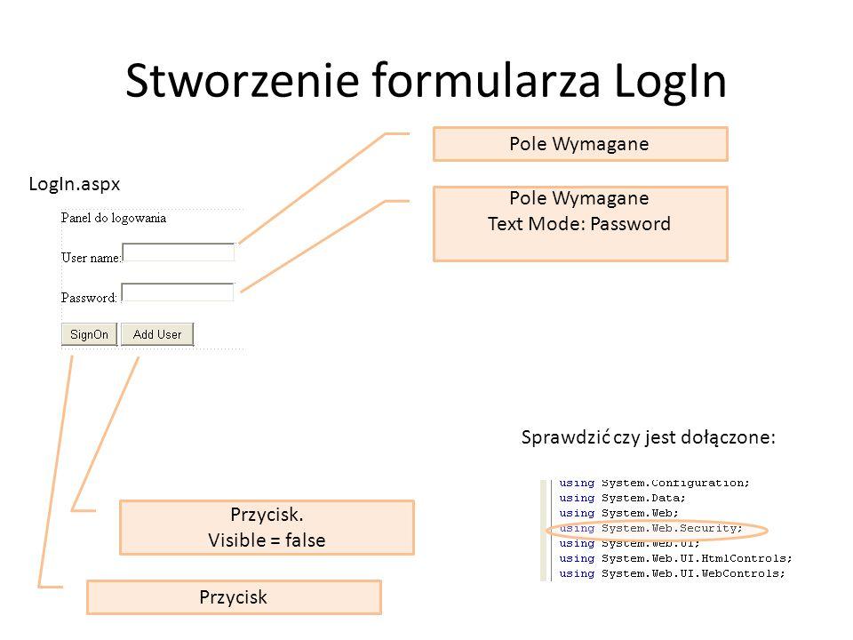 Stworzenie formularza LogIn Pole Wymagane Text Mode: Password Przycisk Przycisk.