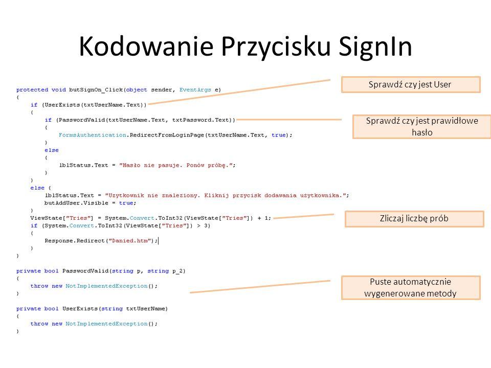 Kodowanie Przycisku SignIn Sprawdź czy jest User Sprawdź czy jest prawidłowe hasło Zliczaj liczbę prób Puste automatycznie wygenerowane metody