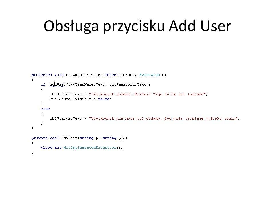 Obsługa przycisku Add User
