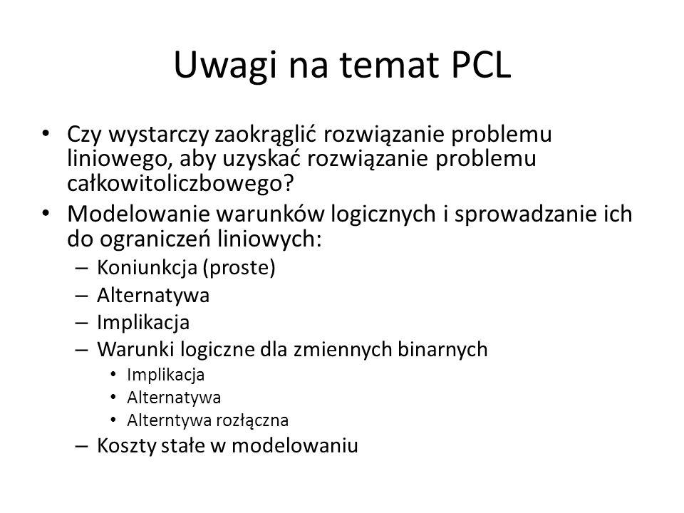 Uwagi na temat PCL Czy wystarczy zaokrąglić rozwiązanie problemu liniowego, aby uzyskać rozwiązanie problemu całkowitoliczbowego? Modelowanie warunków