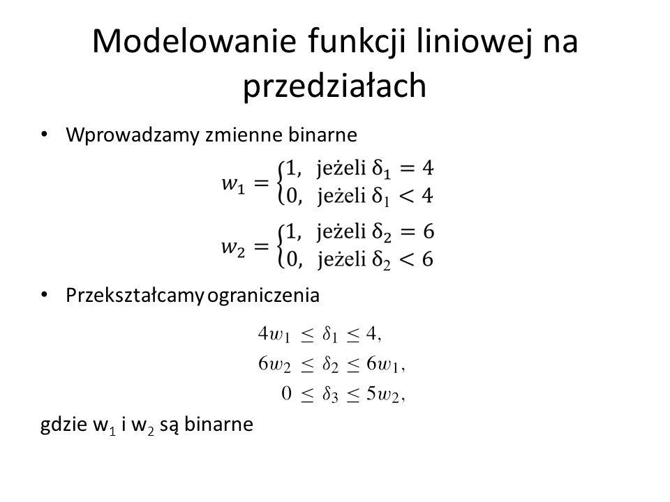 Wprowadzamy zmienne binarne Przekształcamy ograniczenia gdzie w 1 i w 2 są binarne
