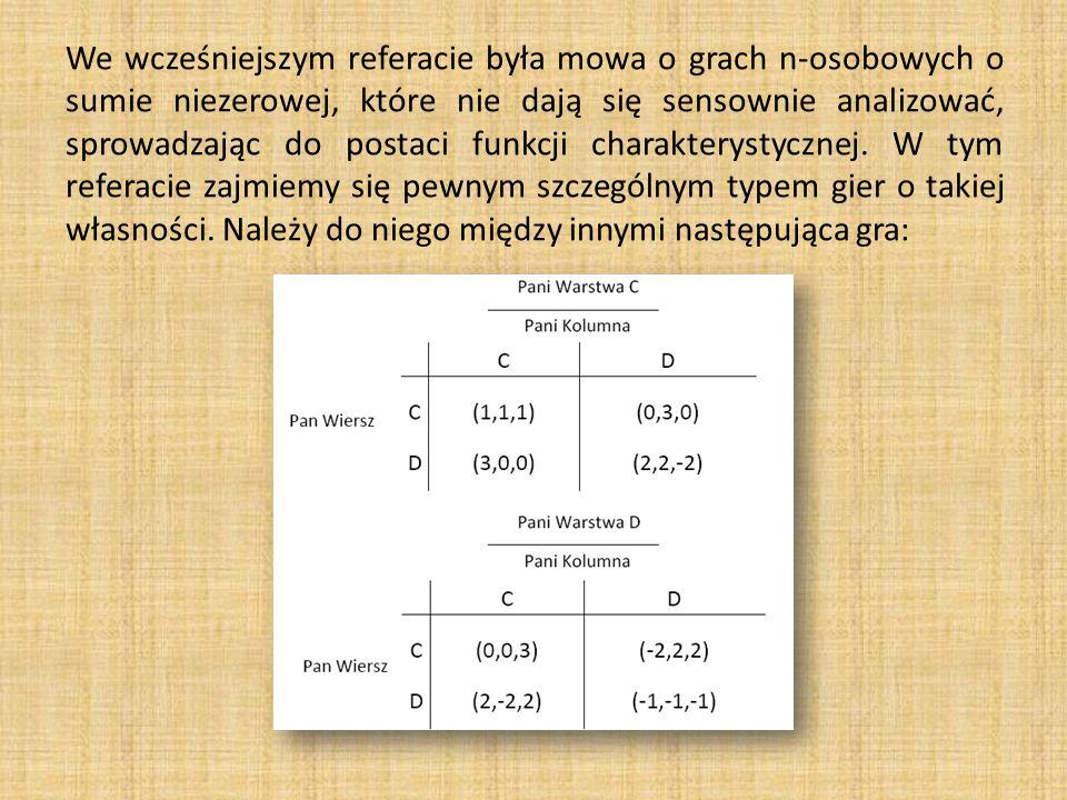 We wcześniejszym referacie była mowa o grach n-osobowych o sumie niezerowej, które nie dają się sensownie analizować, sprowadzając do postaci funkcji