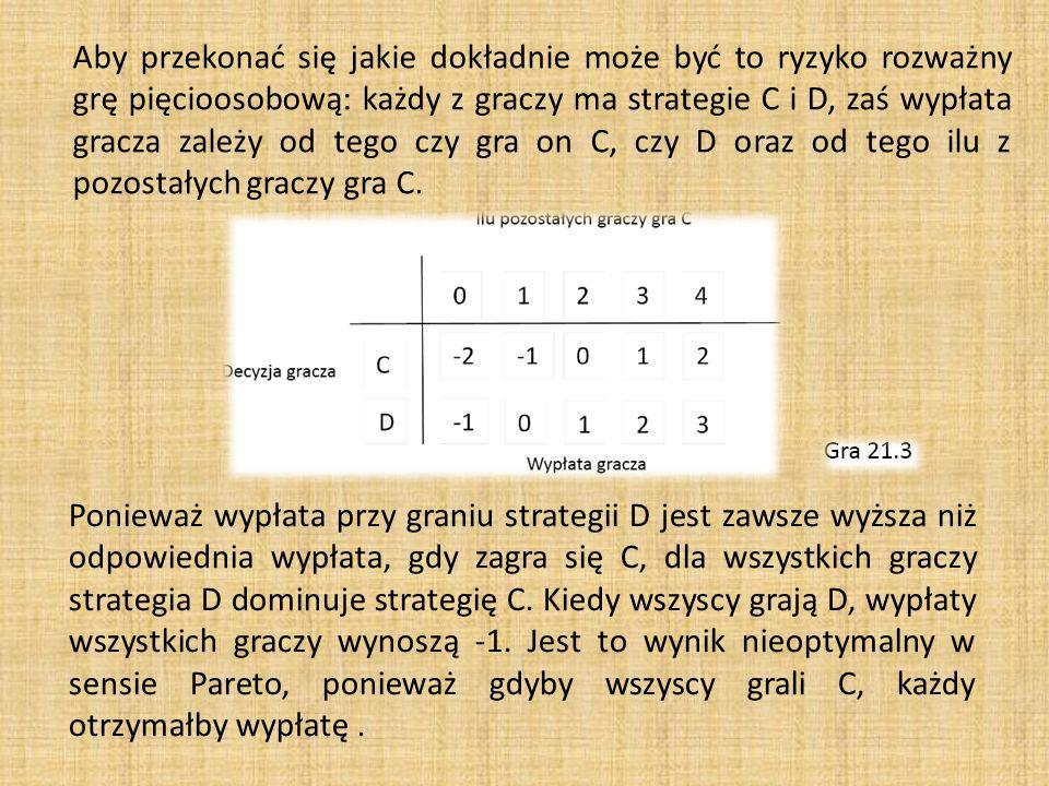 Aby przekonać się jakie dokładnie może być to ryzyko rozważny grę pięcioosobową: każdy z graczy ma strategie C i D, zaś wypłata gracza zależy od tego