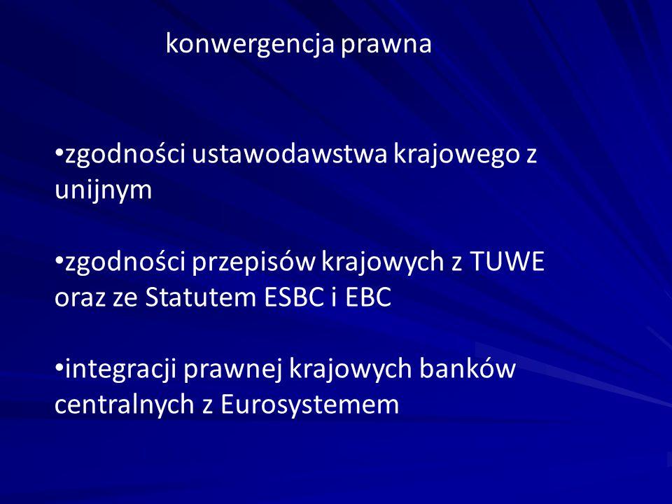 konwergencja prawna zgodności ustawodawstwa krajowego z unijnym zgodności przepisów krajowych z TUWE oraz ze Statutem ESBC i EBC integracji prawnej kr