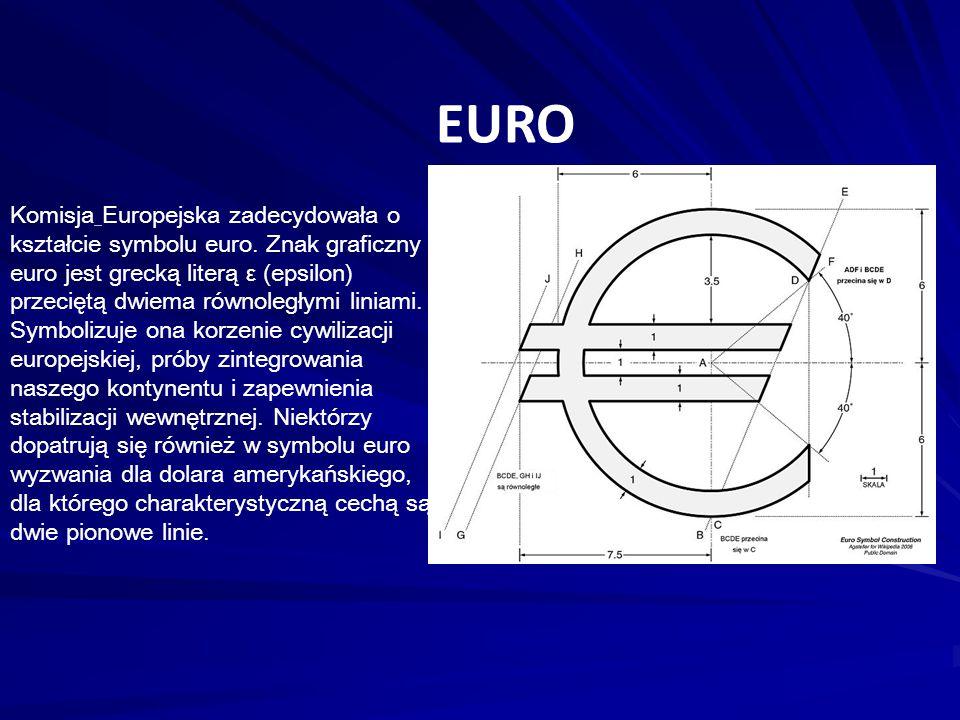 EURO Komisja Europejska zadecydowała o kształcie symbolu euro. Znak graficzny euro jest grecką literą ε (epsilon) przeciętą dwiema równoległymi liniam
