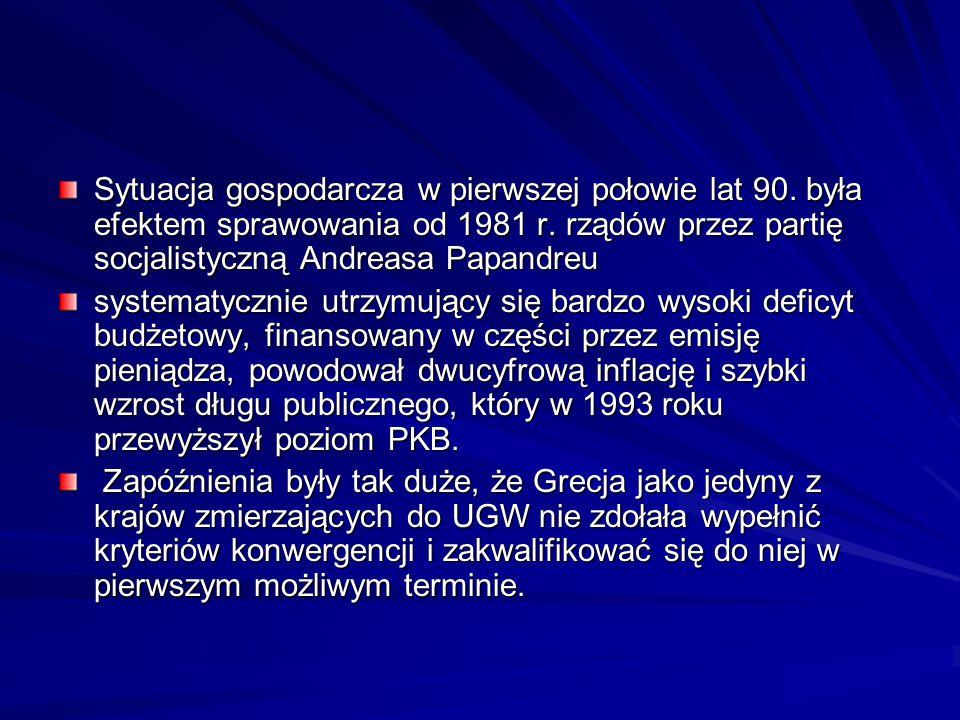 Sytuacja gospodarcza w pierwszej połowie lat 90. była efektem sprawowania od 1981 r. rządów przez partię socjalistyczną Andreasa Papandreu systematycz