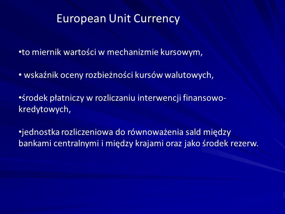 European Unit Currency to miernik wartości w mechanizmie kursowym, wskaźnik oceny rozbieżności kursów walutowych, środek płatniczy w rozliczaniu inter