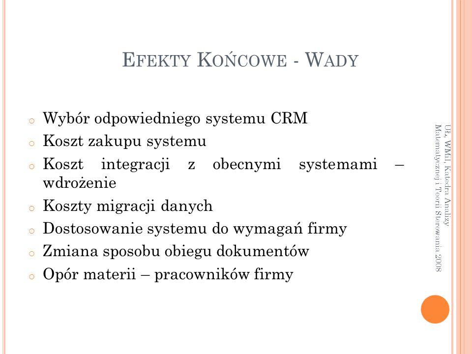 E FEKTY K OŃCOWE - W ADY o Wybór odpowiedniego systemu CRM o Koszt zakupu systemu o Koszt integracji z obecnymi systemami – wdrożenie o Koszty migracj