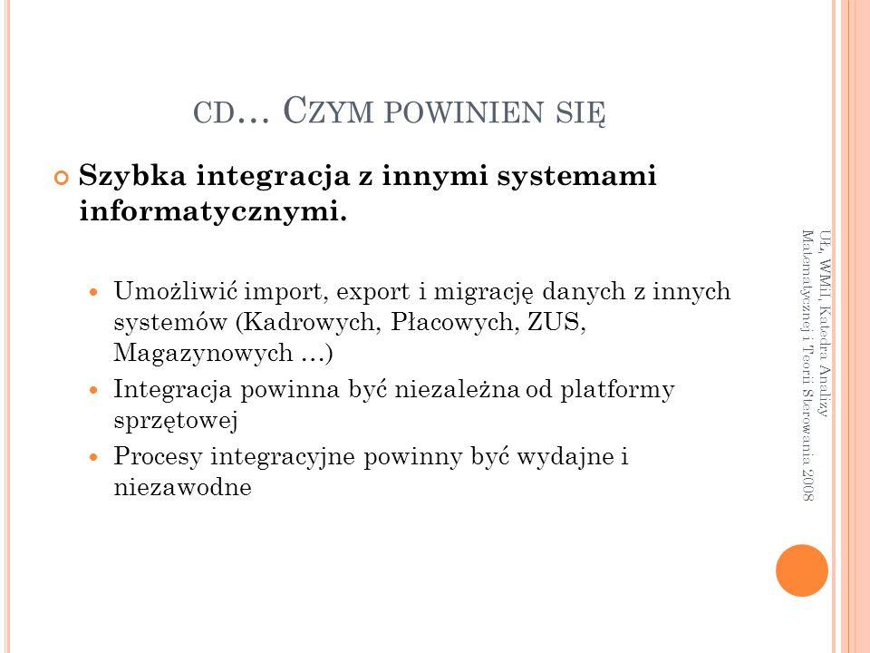 CD … C ZYM POWINIEN SIĘ Szybka integracja z innymi systemami informatycznymi. Umożliwić import, export i migrację danych z innych systemów (Kadrowych,