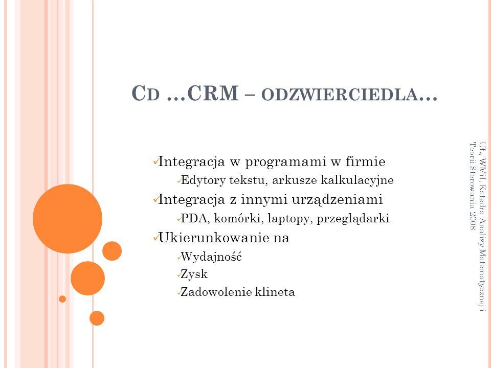 C D …CRM – ODZWIERCIEDLA … Integracja w programami w firmie Edytory tekstu, arkusze kalkulacyjne Integracja z innymi urządzeniami PDA, komórki, laptop