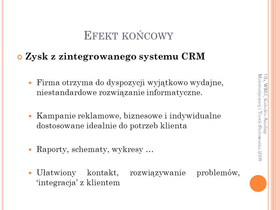 E FEKT KOŃCOWY Zysk z zintegrowanego systemu CRM Firma otrzyma do dyspozycji wyjątkowo wydajne, niestandardowe rozwiązanie informatyczne. Kampanie rek
