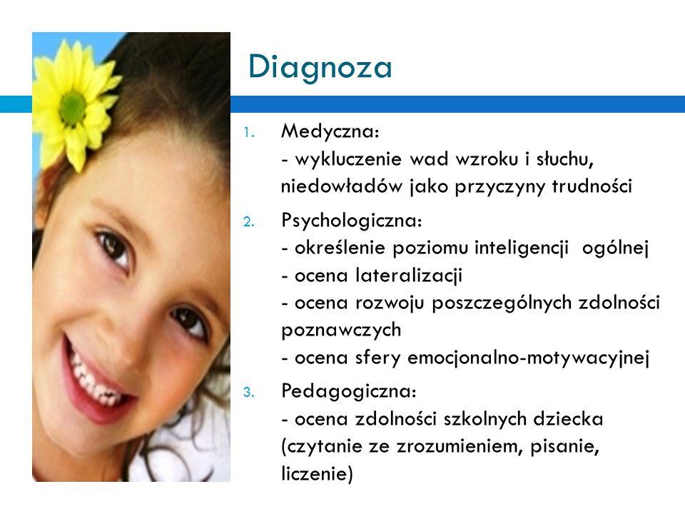 Diagnoza 1. Medyczna: - wykluczenie wad wzroku i słuchu, niedowładów jako przyczyny trudności 2. Psychologiczna: - określenie poziomu inteligencji ogó