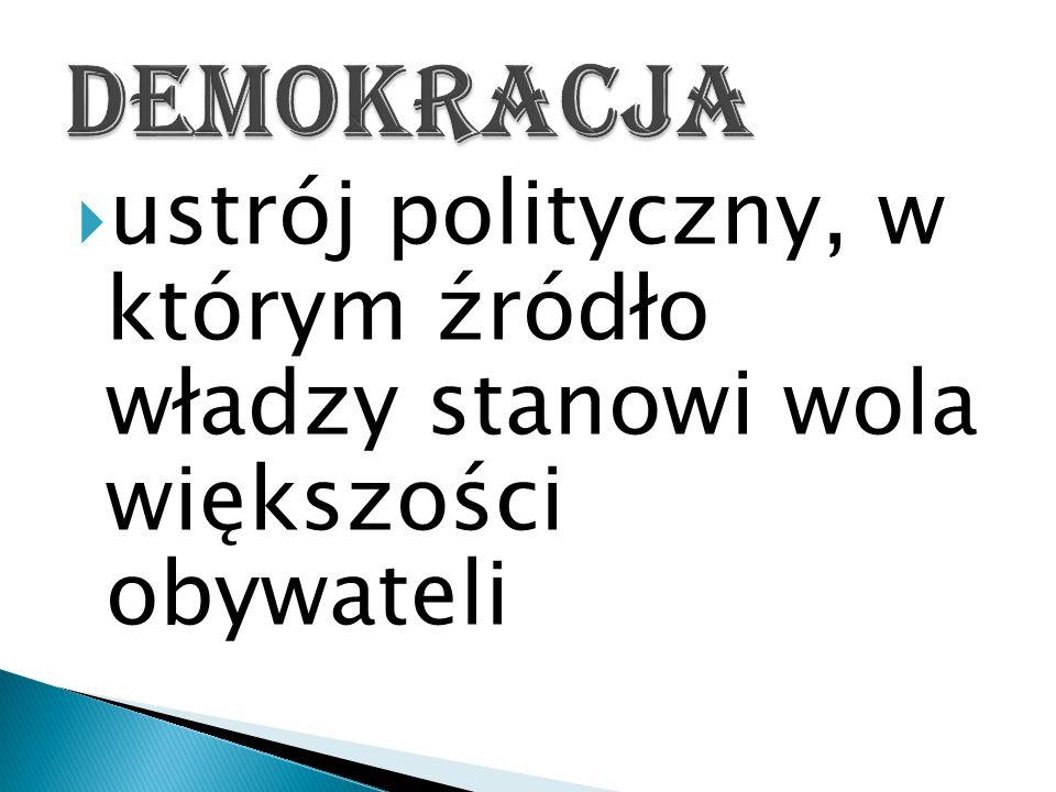  ustrój polityczny, w którym źródło władzy stanowi wola większości obywateli