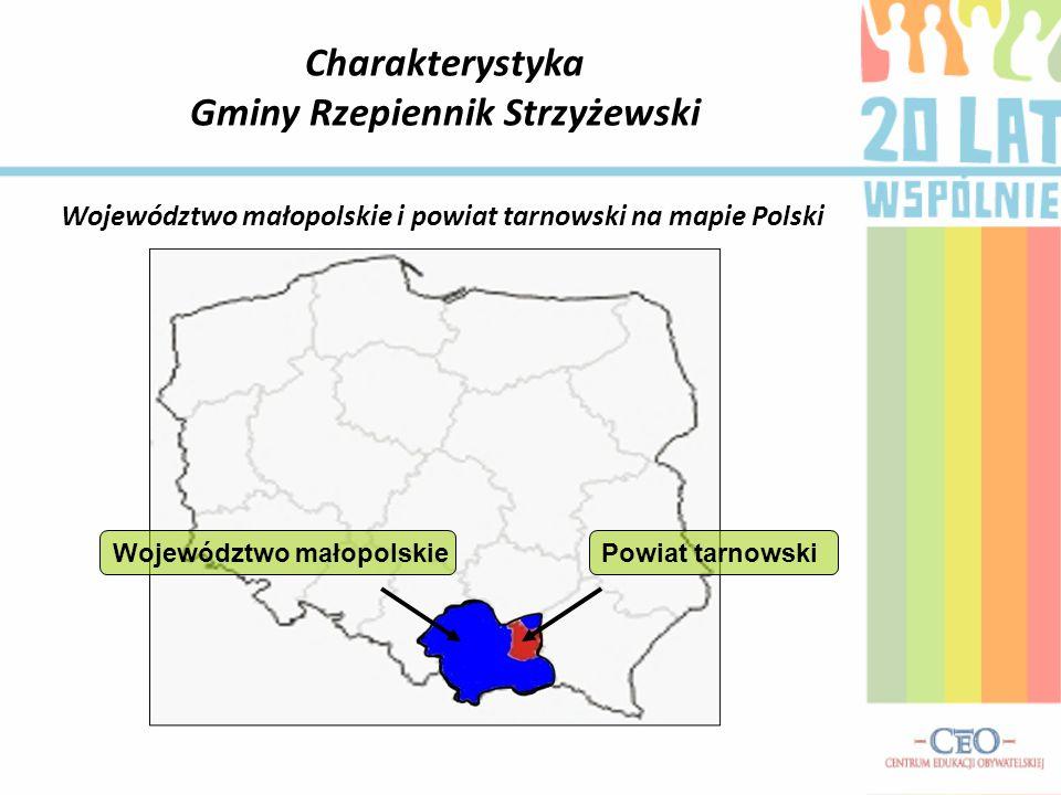 Charakterystyka Gminy Rzepiennik Strzyżewski Województwo małopolskiePowiat tarnowski Województwo małopolskie i powiat tarnowski na mapie Polski