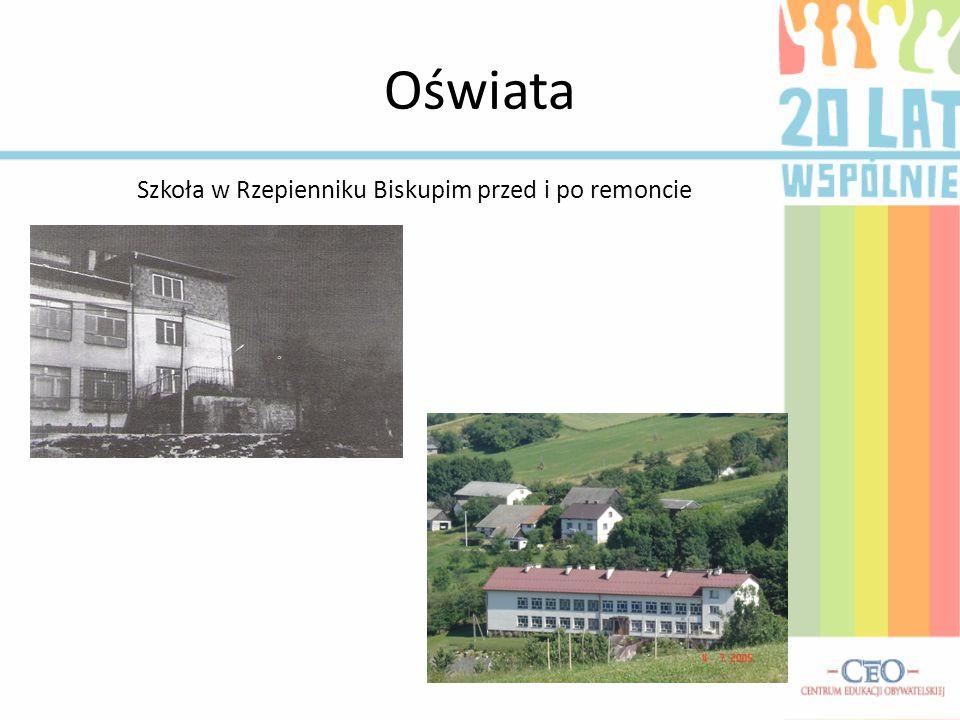 Oświata Szkoła w Rzepienniku Biskupim przed i po remoncie