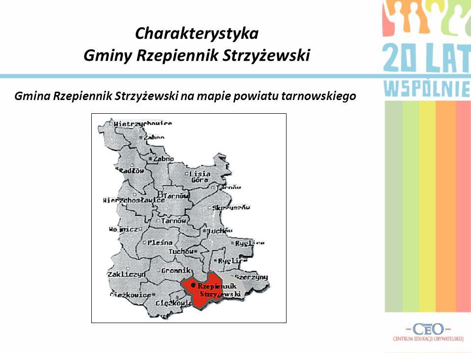 Charakterystyka Gminy Rzepiennik Strzyżewski Gmina Rzepiennik Strzyżewski na mapie powiatu tarnowskiego