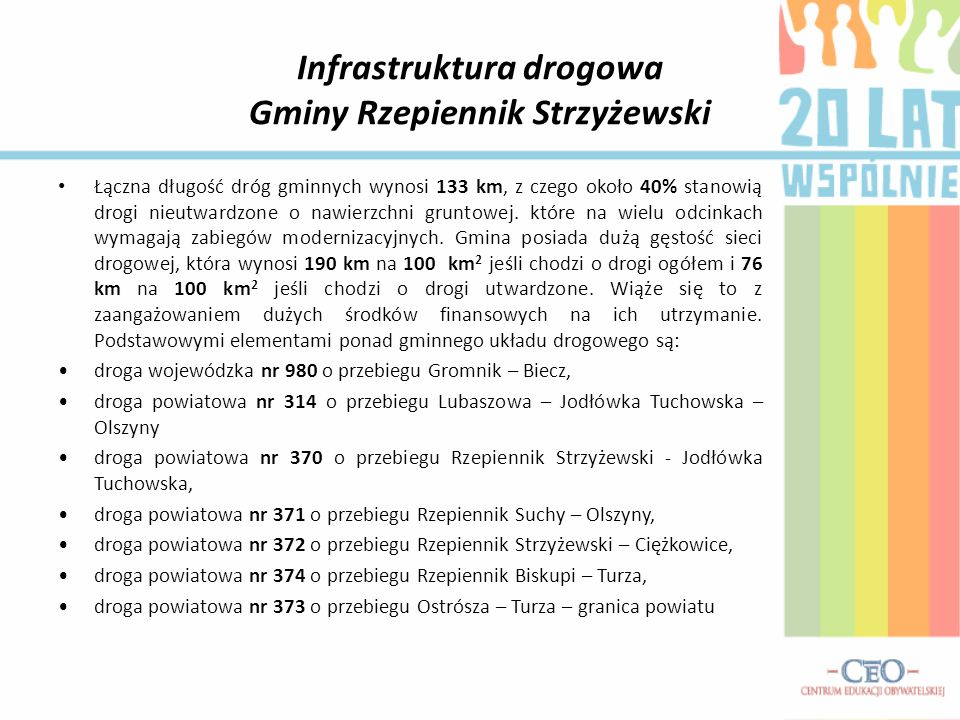Infrastruktura drogowa Gminy Rzepiennik Strzyżewski Łączna długość dróg gminnych wynosi 133 km, z czego około 40% stanowią drogi nieutwardzone o nawierzchni gruntowej.