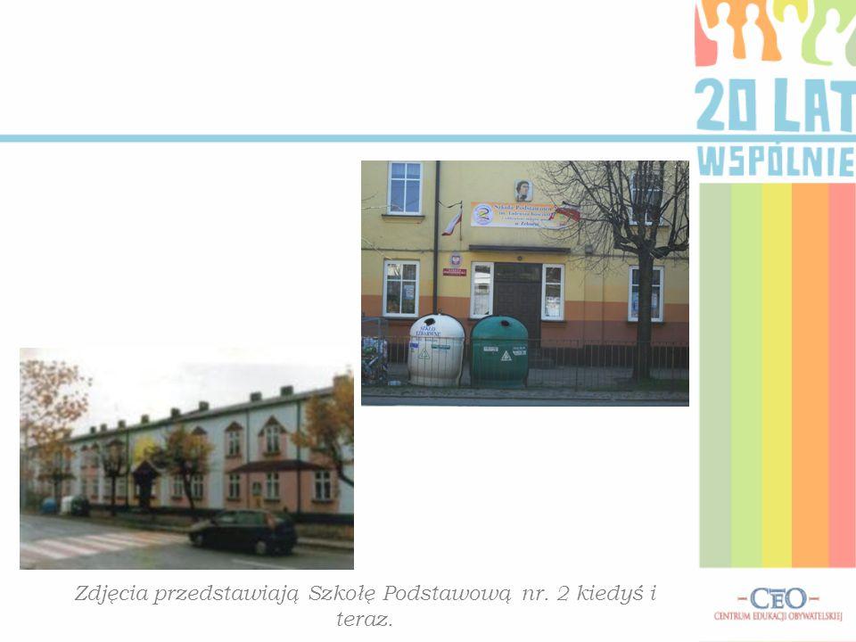 Zdjęcia przedstawiają Szkołę Podstawową nr. 2 kiedyś i teraz.