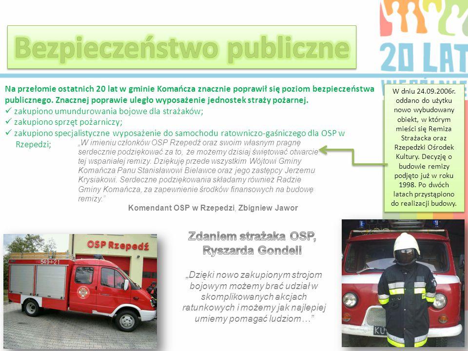 Na przełomie ostatnich 20 lat w gminie Komańcza znacznie poprawił się poziom bezpieczeństwa publicznego. Znacznej poprawie uległo wyposażenie jednoste