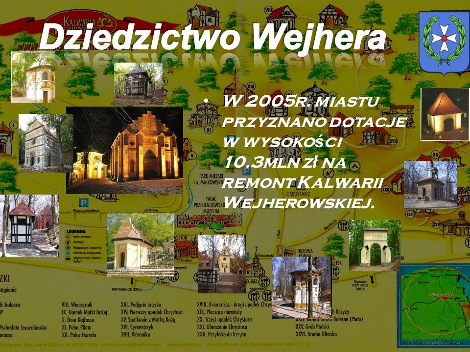 W 2005r. miastu przyznano dotacje w wysoko ś ci 10.3mln z ł na remont Kalwarii Wejherowskiej.