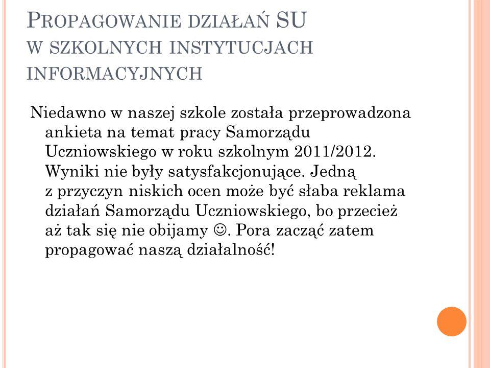 P ROPAGOWANIE DZIAŁAŃ SU W SZKOLNYCH INSTYTUCJACH INFORMACYJNYCH Niedawno w naszej szkole została przeprowadzona ankieta na temat pracy Samorządu Uczniowskiego w roku szkolnym 2011/2012.