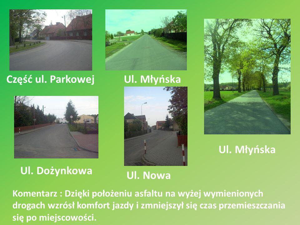 Komentarz : Dzięki położeniu asfaltu na wyżej wymienionych drogach wzrósł komfort jazdy i zmniejszył się czas przemieszczania się po miejscowości. Czę