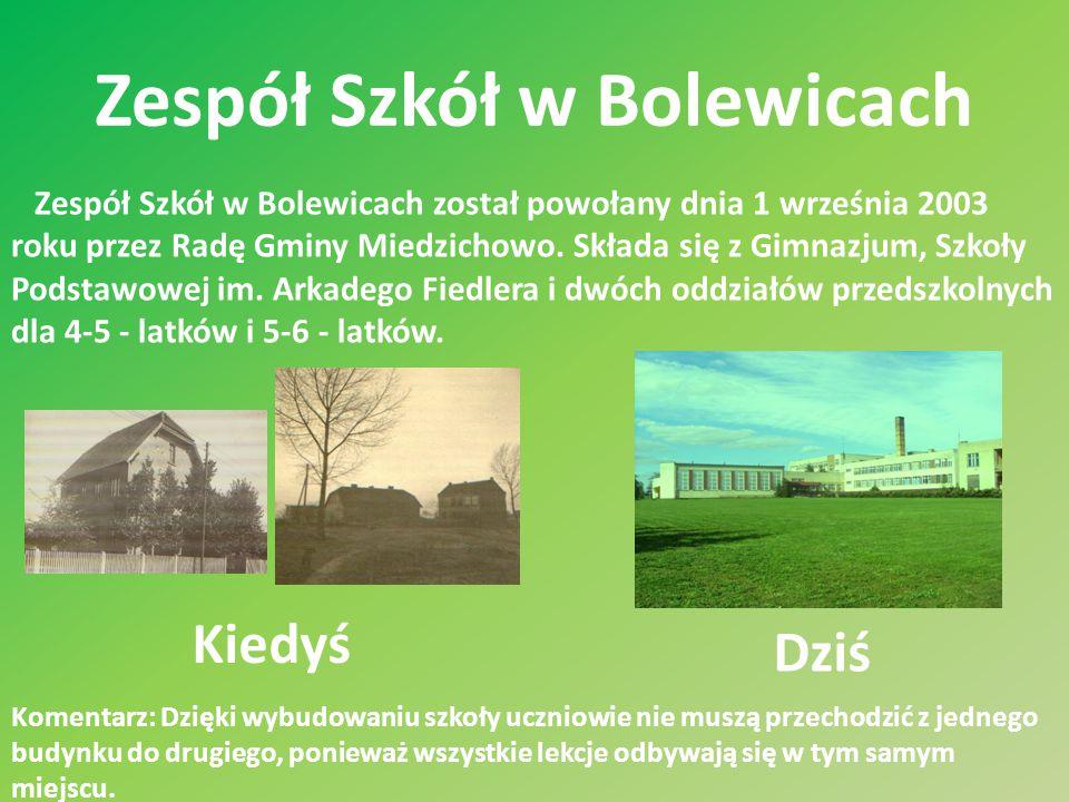 Zespół Szkół w Bolewicach Zespół Szkół w Bolewicach został powołany dnia 1 września 2003 roku przez Radę Gminy Miedzichowo. Składa się z Gimnazjum, Sz