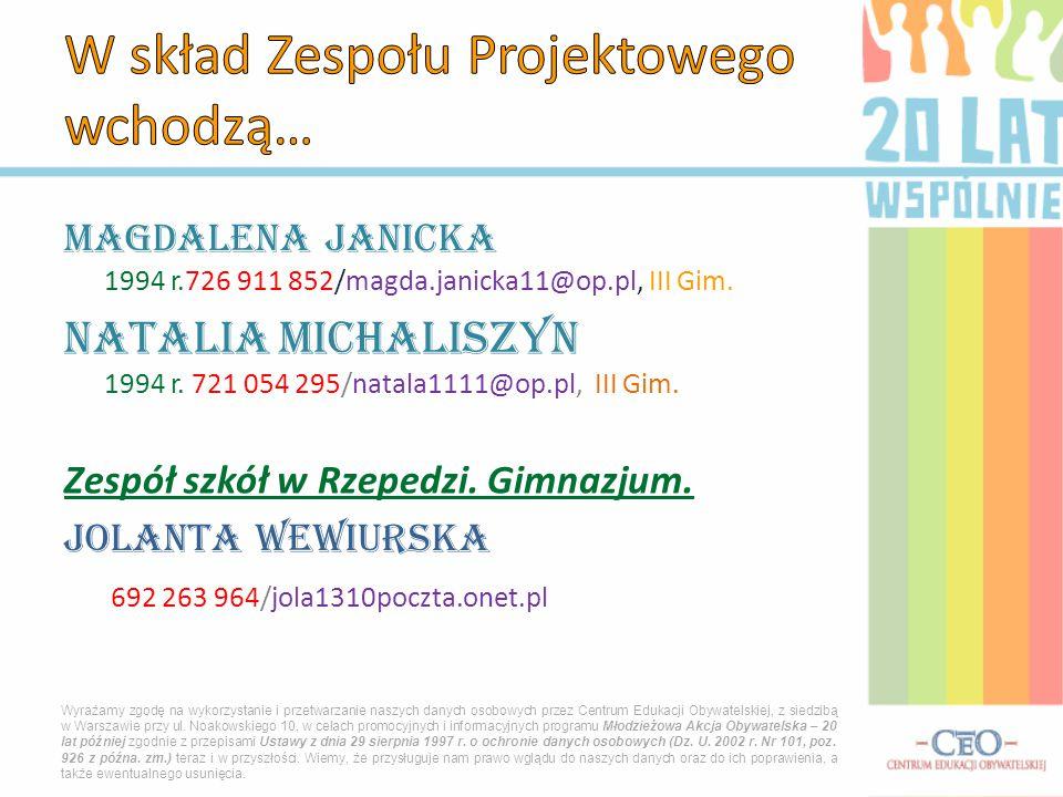 Magdalena Janicka 1994 r.726 911 852/magda.janicka11@op.pl, III Gim. Natalia Michaliszyn 1994 r. 721 054 295/natala1111@op.pl, III Gim. Zespół szkół w