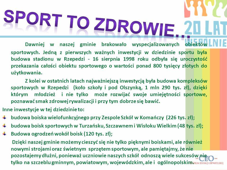 Dawniej w naszej gminie brakowało wyspecjalizowanych obiektów sportowych. Jedną z pierwszych ważnych inwestycji w dziedzinie sportu była budowa stadio