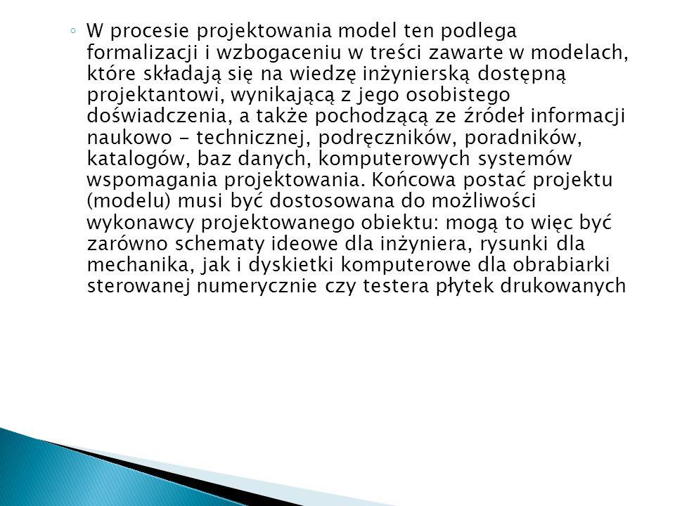 ◦ W procesie projektowania model ten podlega formalizacji i wzbogaceniu w treści zawarte w modelach, które składają się na wiedzę inżynierską dostępną