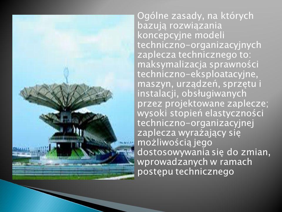 Ogólne zasady, na których bazują rozwiązania koncepcyjne modeli techniczno-organizacyjnych zaplecza technicznego to: maksymalizacja sprawności technic