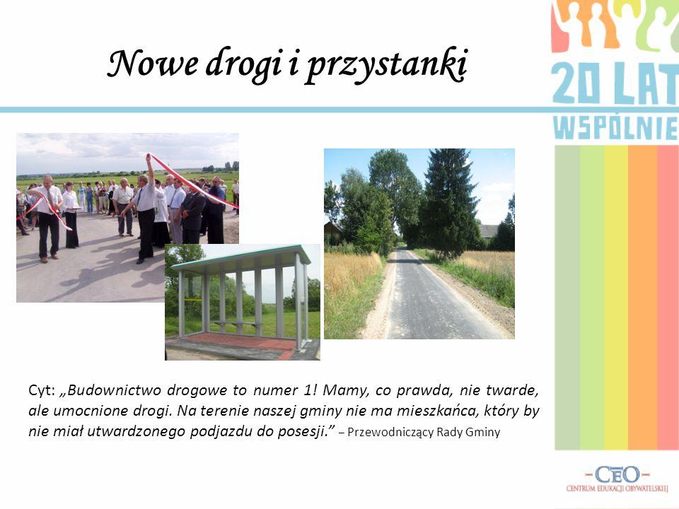 """Nowe drogi i przystanki Cyt: """"Budownictwo drogowe to numer 1! Mamy, co prawda, nie twarde, ale umocnione drogi. Na terenie naszej gminy nie ma mieszka"""