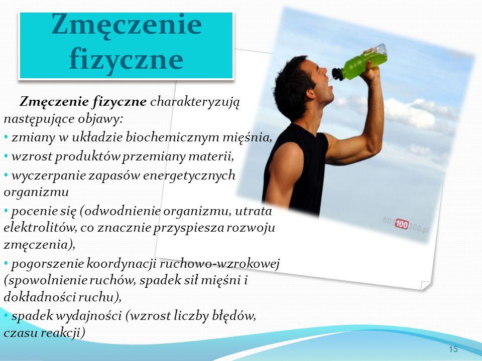 Zmęczenie fizyczne Zmęczenie fizyczne charakteryzują następujące objawy: zmiany w układzie biochemicznym mięśnia, wzrost produktów przemiany materii, wyczerpanie zapasów energetycznych organizmu pocenie się (odwodnienie organizmu, utrata elektrolitów, co znacznie przyspiesza rozwoju zmęczenia), pogorszenie koordynacji ruchowo-wzrokowej (spowolnienie ruchów, spadek sił mięśni i dokładności ruchu), spadek wydajności (wzrost liczby błędów, czasu reakcji) 15