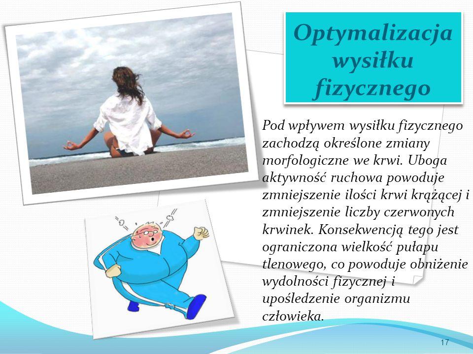 Optymalizacja wysiłku fizycznego Pod wpływem wysiłku fizycznego zachodzą określone zmiany morfologiczne we krwi.