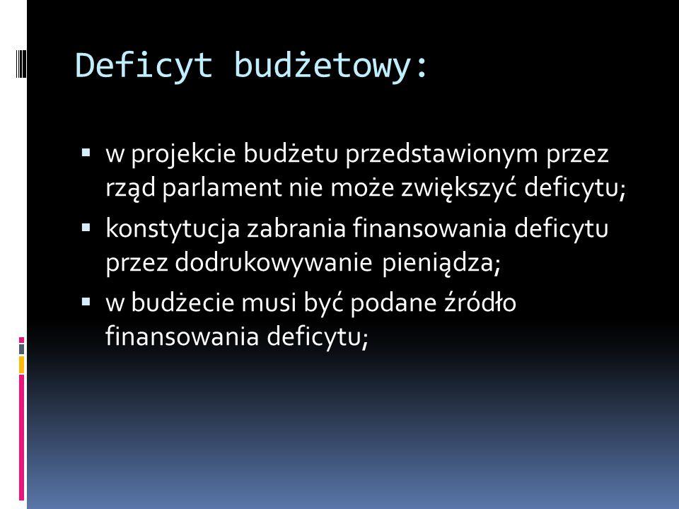 Deficyt budżetowy:  w projekcie budżetu przedstawionym przez rząd parlament nie może zwiększyć deficytu;  konstytucja zabrania finansowania deficytu przez dodrukowywanie pieniądza;  w budżecie musi być podane źródło finansowania deficytu;
