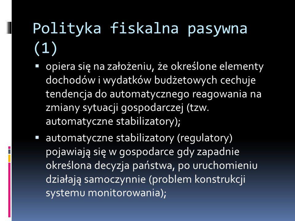 Polityka fiskalna pasywna (1)  opiera się na założeniu, że określone elementy dochodów i wydatków budżetowych cechuje tendencja do automatycznego reagowania na zmiany sytuacji gospodarczej (tzw.