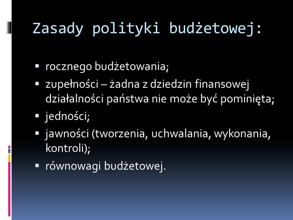 Zasady polityki budżetowej:  rocznego budżetowania;  zupełności – żadna z dziedzin finansowej działalności państwa nie może być pominięta;  jedności;  jawności (tworzenia, uchwalania, wykonania, kontroli);  równowagi budżetowej.
