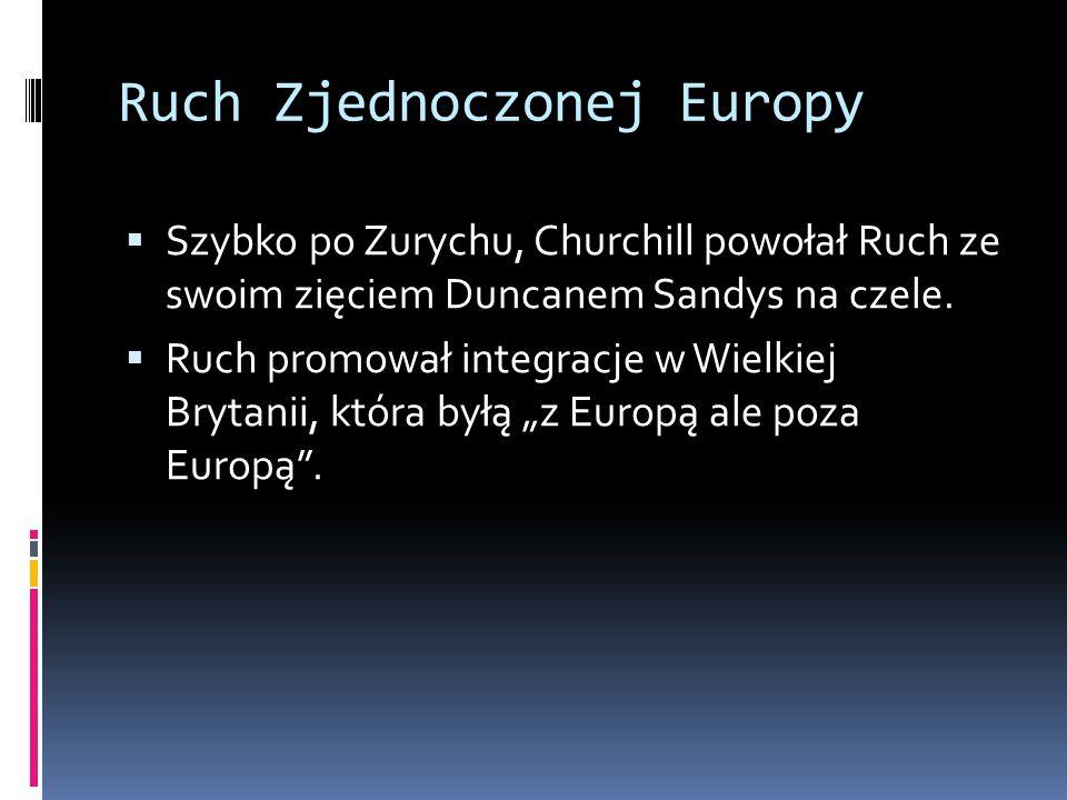 Ruch Zjednoczonej Europy  Szybko po Zurychu, Churchill powołał Ruch ze swoim zięciem Duncanem Sandys na czele.