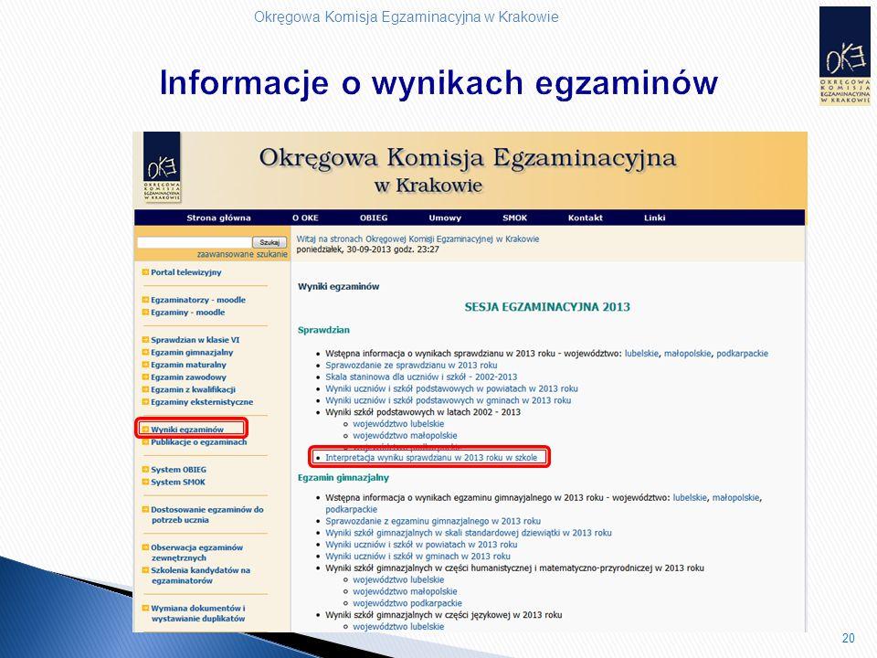 Okręgowa Komisja Egzaminacyjna w Krakowie 20